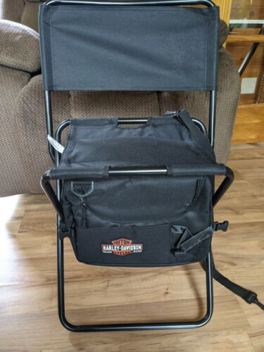 Harley-Davidson Portable Camp Foldable Chair With Cooler And Shoulder Strap