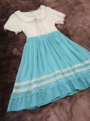 axes femme Dress Japan-M Pastel blue White dot Laceup Hime&Kawaii Lolita Fashion