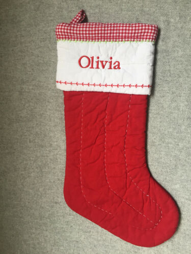 Pottery Barn Kids Medium Solid Quilted Stocking OLIVIA Mono 2020 NWOT