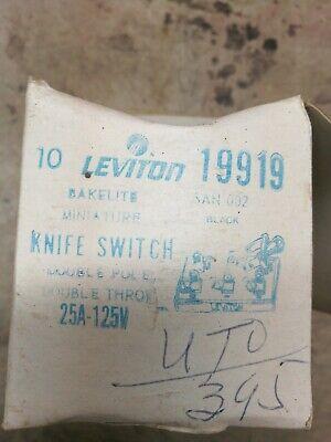 Vintage 8 Leviton Knife Switch Bakelite Nos Double Pole Double Throw 25 Amp