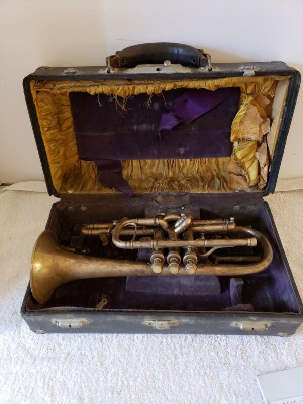 Antique 1905 CONN Conn-Queror Coronet Horn Trumpet - C.G. Conn Elkhart Ind. USA