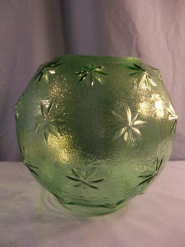 "Fenton For L.G. Wright Green Glass Stipple Star Lamp Globe Shade 4"" Fitter"