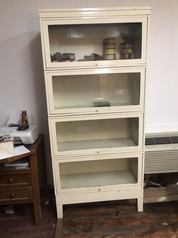 Antique Barrister Lawyer 4 Section Metal Stacking Bookcase with doors