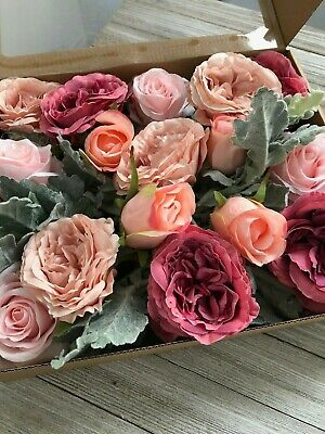 Dusty Rose Artificial Silk Flowers With Bendable Stem/Dusty Miller Combo Pack