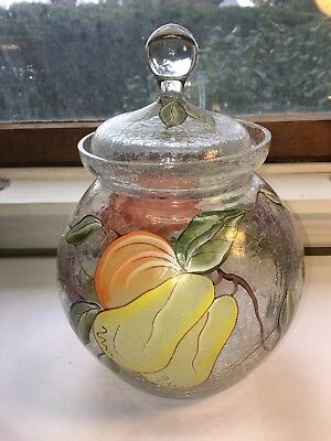 Crackle Glass Pot Bell Cookie/Biscuit Jar with Hand Painted Fruit Decor Mint!