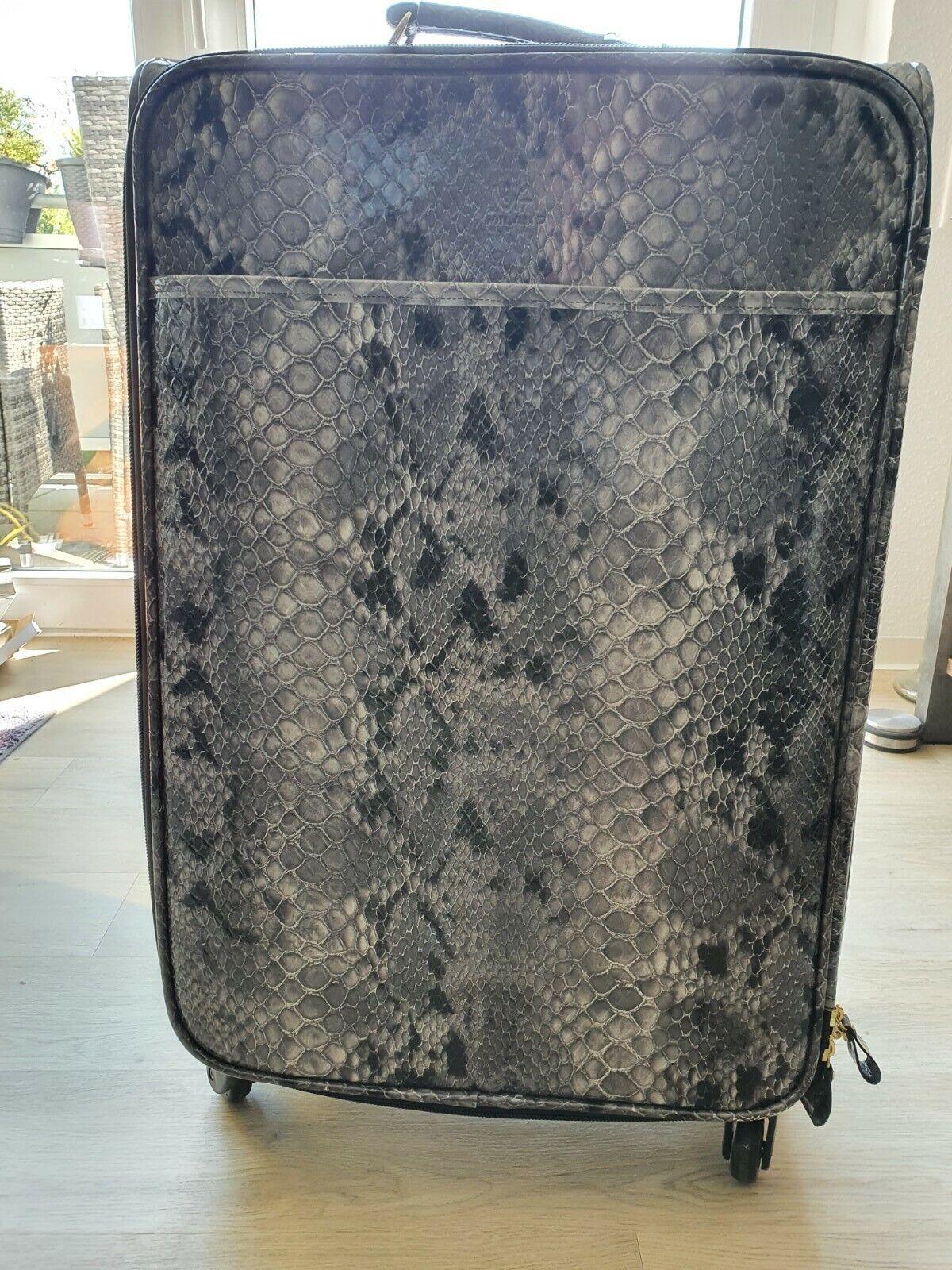 Reisekoffer Koffer VA MILANO Kunstleder schwarz/grau Krokoprägung 72x45x24 cm