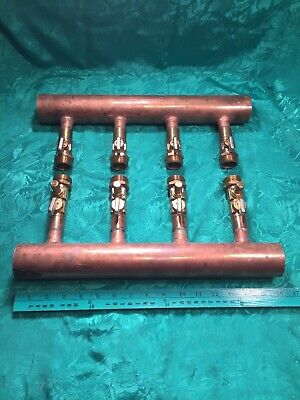 4 Port 2 X 34 Inch Wirsbo Upnor Copper Valved Manafold For Pex Pipe Heat System