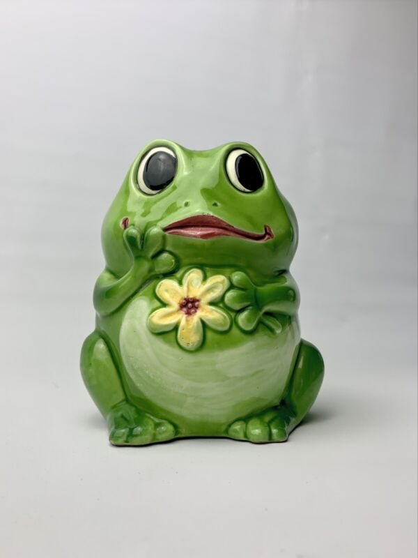 INARCO Japan Whimsical Green Frog Ceramic Planter
