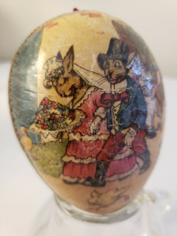 Antique German Two Sided Paper Mache Egg Candy Easter Container w Rabbits Chicks