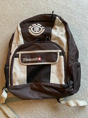 Used Element Skateboard Backpack Brown Embroidered Back Pack