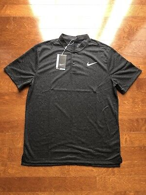 Nike Golf Blade Collar Black Dri Fit Polo Shirt 850698 010 Mens Sz 2XL - (Collar Mens Black Shirts)