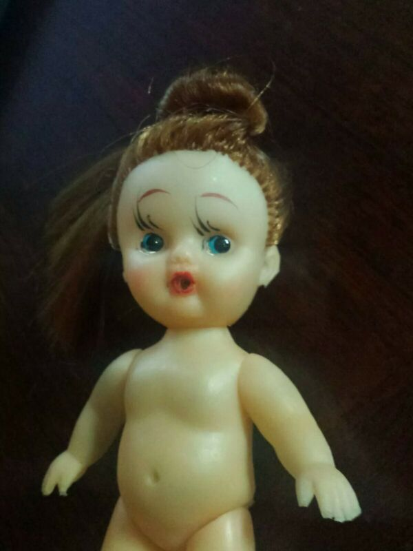 Vintage Japan Rubber Doll, Red Head, Drink & Wet , Nude , Long Hair Pony Tail