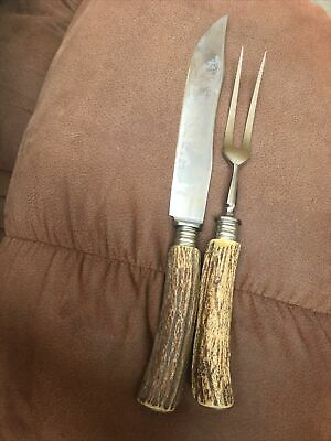 carl schlieper eye brand knife And Fork Carving With Antler Handles