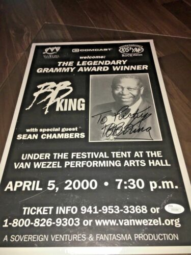 SIGNED BB King 2000 Sarasota Florida - Van Wezel Blues Concert Poster JSA COA.