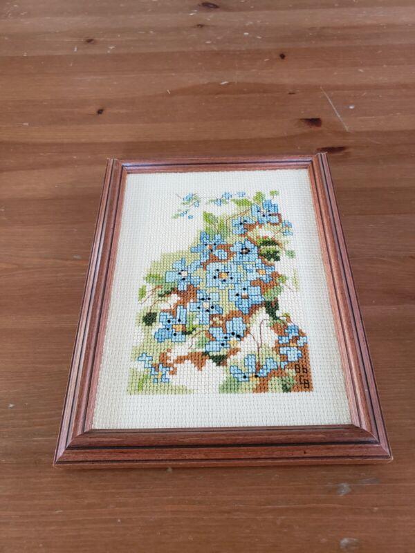 Finished & Framed Cross Stitch Blue Flowers Wood Framed