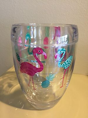 New Tervis Pink Flamingo and Pineapple Wrap 9 oz Stemless Insulated Wine Glass - Pink Wine Glass