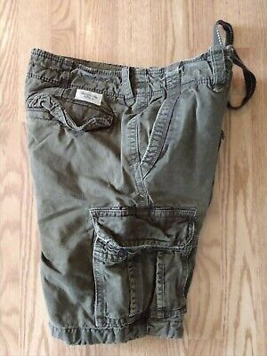 ABERCROMBIE & FITCH CARGO SHORTS BUTTON FLY BROWN 100% COTTON MEN'S SIZE 33