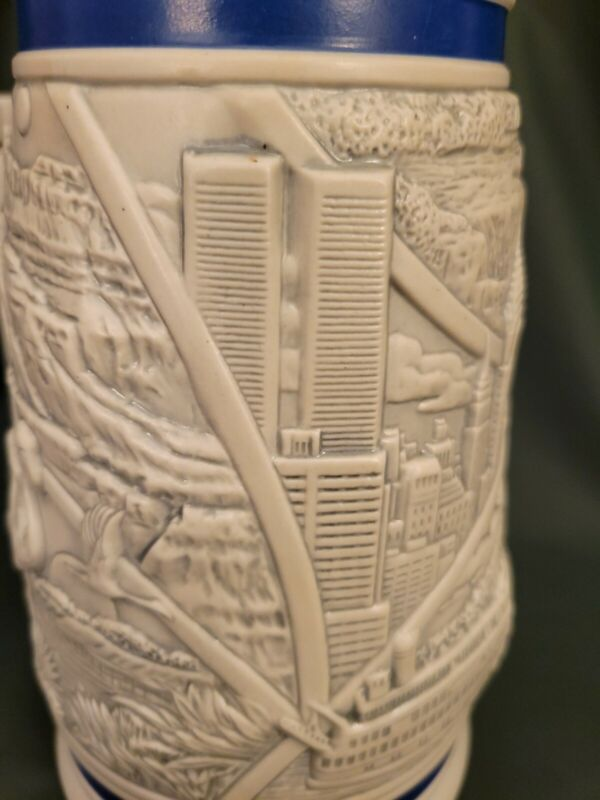 World Trade Center Twin Towers AVON 1998 Beer Stein America the Beautiful 03340