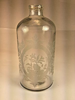 French Etched Glass Perfume Bottle Floral Etched