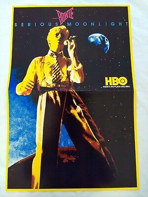 Original 1984 DAVID BOWIE POSTER Serious Moonlight Guide Art RARE PROMO HBO