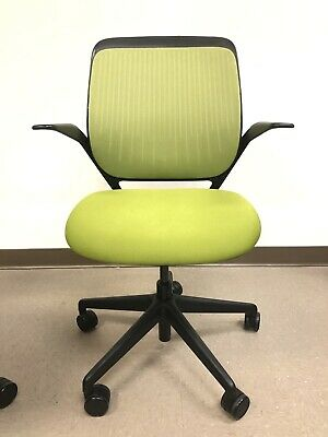 Steelcase Cobi Ergonomic Task Office Chair In Black With Wasabigreen Fabric