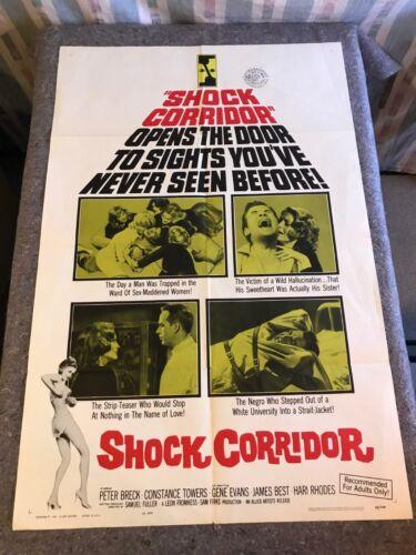 """SHOCK CORRIDOR 1963 ORIGINAL 1 SHEET MOVIE POSTER 27"""" x 41"""" (F/VF) SAM FULLER"""