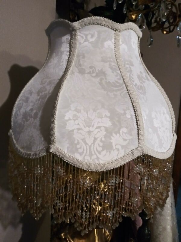 "Victorian French Large Floor Table Lamp Shade "" Ivory"" Bead Fringe Look!"