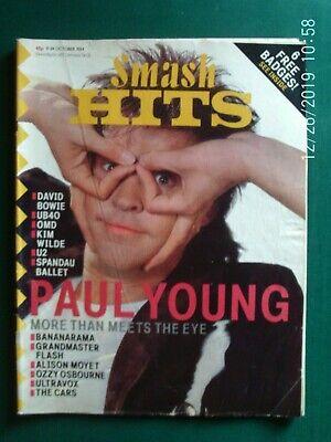 SMASH HITS MAGAZINE  OCT  1984 PAUL YOUNG U2 KIM WILDE OMD UB40 comprar usado  Enviando para Brazil
