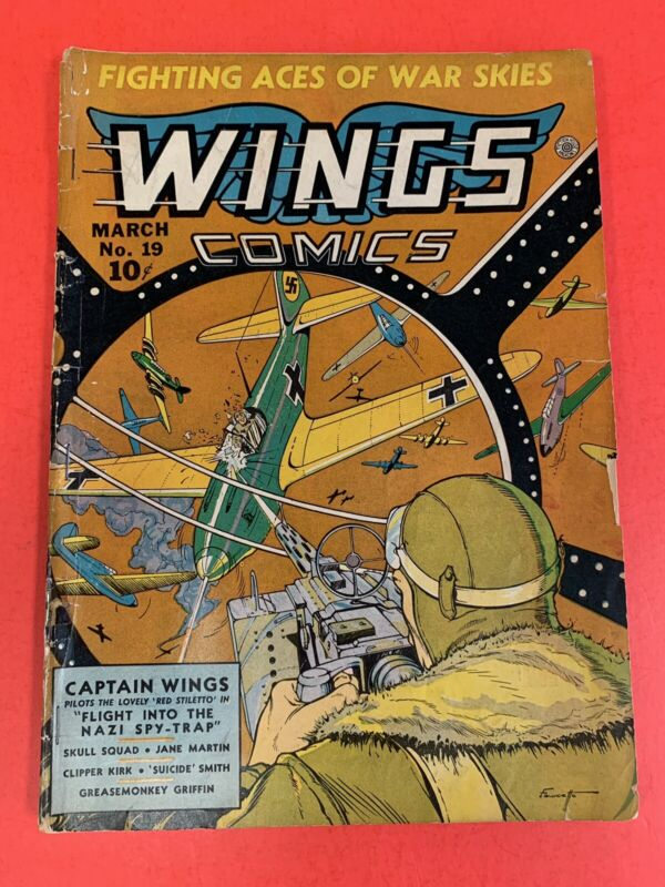 WINGS # 19  (1942) FICTION HOUSE - WWII NAZI COVER - VINTAGE COMIC BOOK