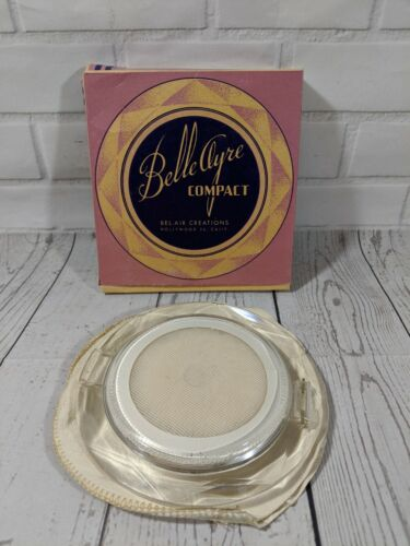 Vintage Belle Ayre Lucite compact blue tint mirror, in box, unused