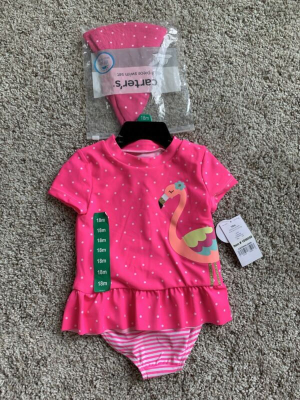 Carter's Girl Swimsuit Rashguard Set With Hat 18 Months Pink