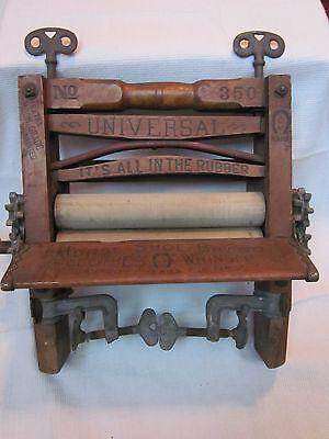 Antique Universal Horse Shoe Brand No 350 Hand Crank Laundry Wringer - Pat. 1898