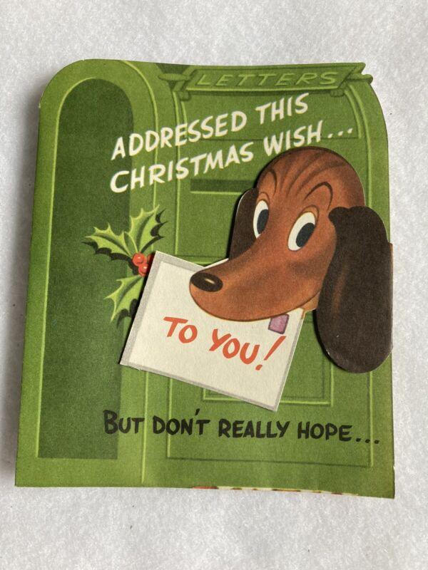 Vtg 40s CHILDS JUVENILE FOLD DACHSHUND  WEINER DOG CHRISTMAS CARD- UNUSED
