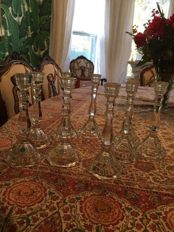 "Tiffany & Co. Crystal Hampton Candle Stick Holders 9"" —nine In Total."