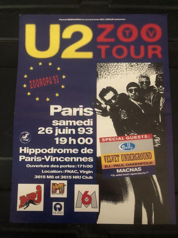 U2 1993 ZooTV Tour Concert Promo Poster Paris Velvet Underground Macnas