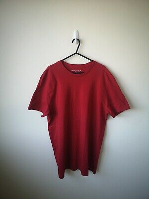 Men's Nautica T Shirt Red XL Vintage Slim Fit