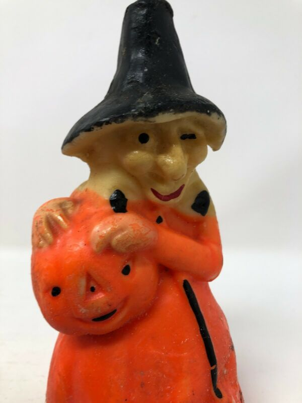 Vintage Retro Gurley Candle Co. Witch with Pumpkin Halloween Decoration Paraffin