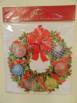 4 Four Caspari Advent Calendar Christmas Wreath 3D MovingApplique NIP Beautiful