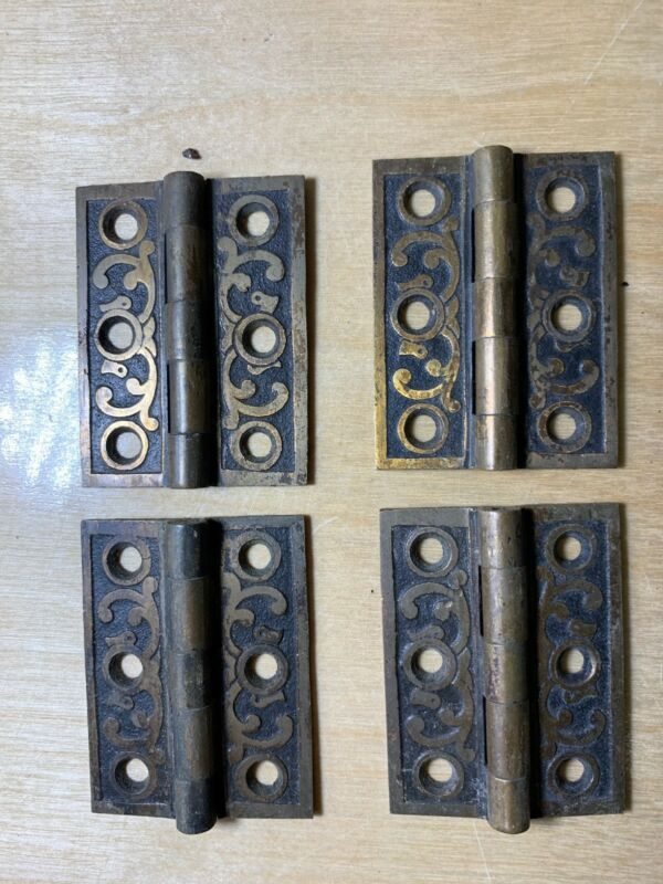 Antique Hardware Hinges Ornate Cast Bronze Circa 1880's 1-1/2x2""