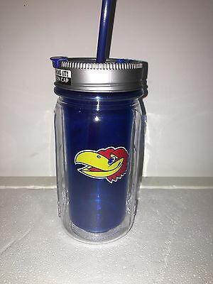JAYHAWKS UNIVERSITY OF KANSAS MASON JAR WATER BOTTLE CUP MUG 16 oz. - Mason Jar Water Bottle