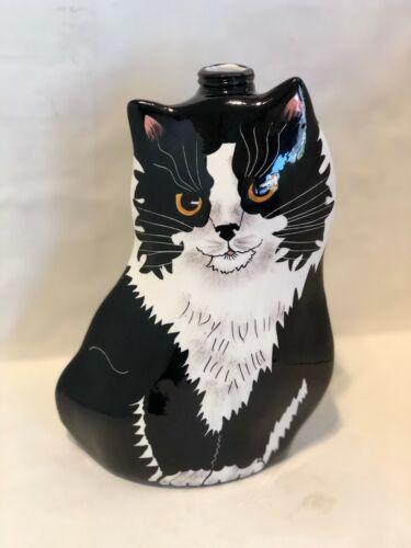 """Nina Lyman Cats By Nina Soap Lotion Dispenser Black Cat Hand Painted 8-1/2"""" Tall"""