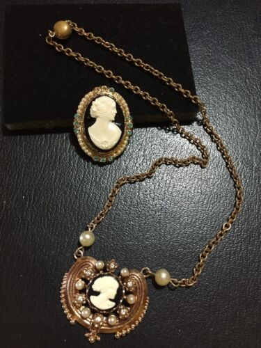Antique Vintage Jewelry Cameo Necklace Pearls rhinestones and Cameo Pin