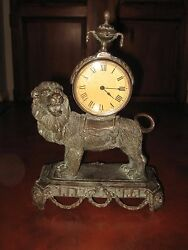 Maitland Smith Bronze Lion Large Mantel Clock