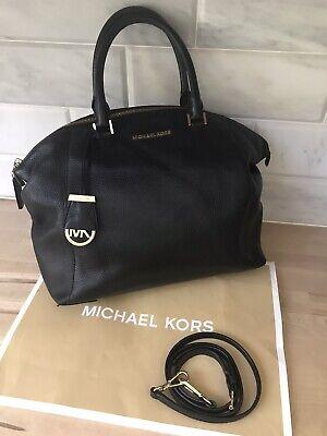 MICHAEL KORS LARGE PEBBLED LEATHER BLACK ~RILEY~ SATCHEL TOTE SHOULDER BAG ~VGC!