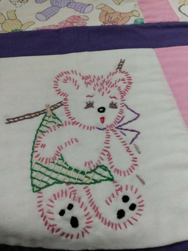 """Blanket Handmade baby girl quilt 32""""x48"""""""