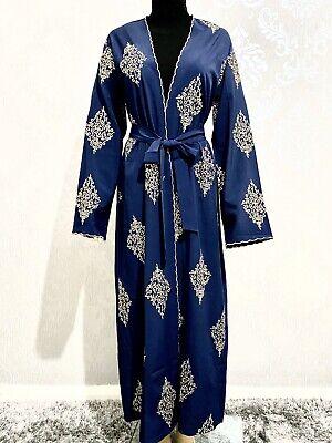 Modest Dubai Style Muslim Abaya Navy Gold Size 52, 54, 56