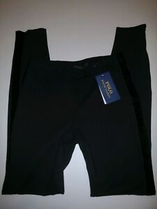BNWT Auth Polo Ralph Lauren black leggings with side suede trim size 2
