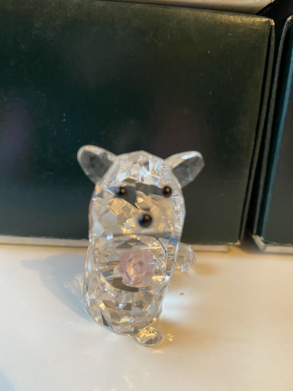 New Glass Crystal Figuerines Collectible Cat With Pink Heart Animal