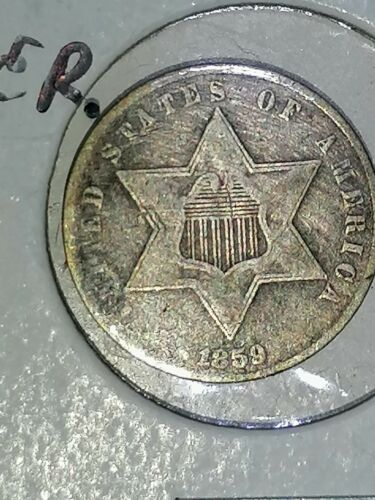 1859 Three Cent Silver, Rare Hard To Find 3c Collectible Must Have Coin No Res  - $76.00
