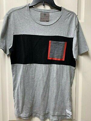 ON THE BYAS Gray Color Block Short Sleeve Tee T Shirt Top Men's Sz Small S Block Short Sleeve Tee